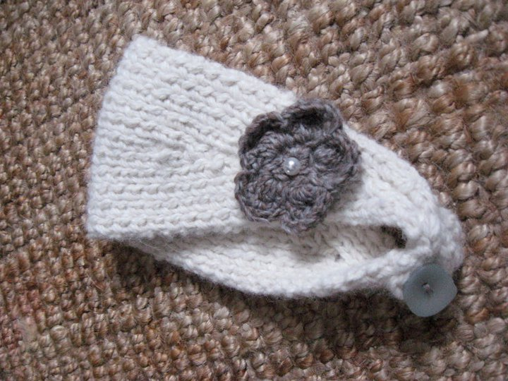 Handmade by Leanne Earwarmer with flower and pearl button Chunky Alpaca Yarn